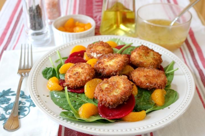 Beets + Greens Salad with Crispy Goat Cheese + OrangeVinaigrette