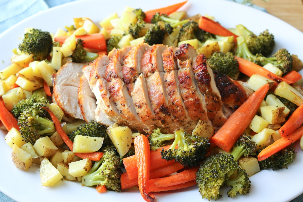 Roast Turkey Breast with Honey Glaze and Roasted Veggies
