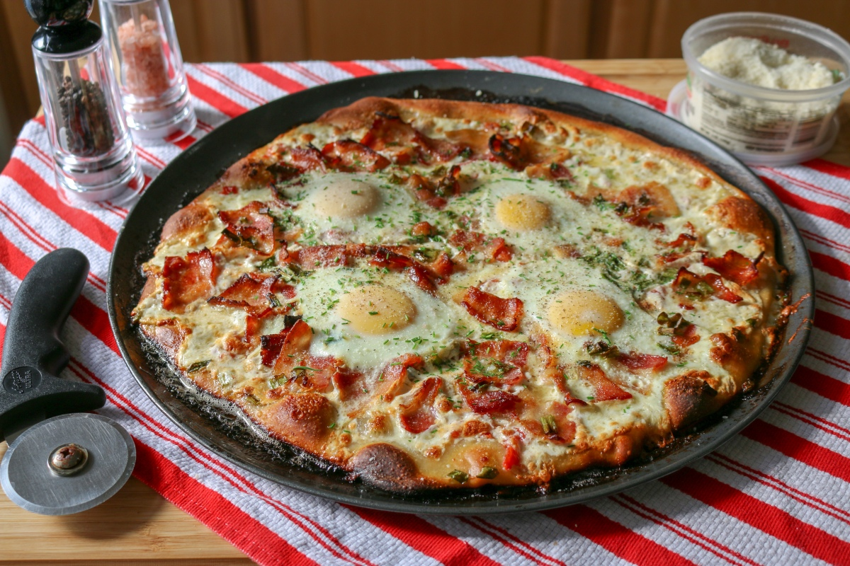 Bacon + Eggs Breakfast Pizza