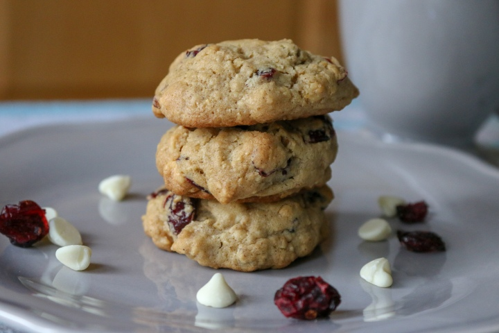 Cranberry Macadamia Oatmeal Cookies with WhiteChocolate