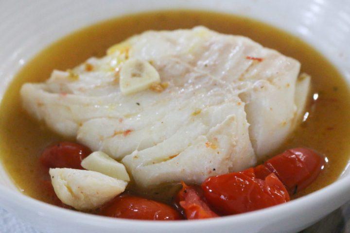 Poached Cod with Saffron +Tomato