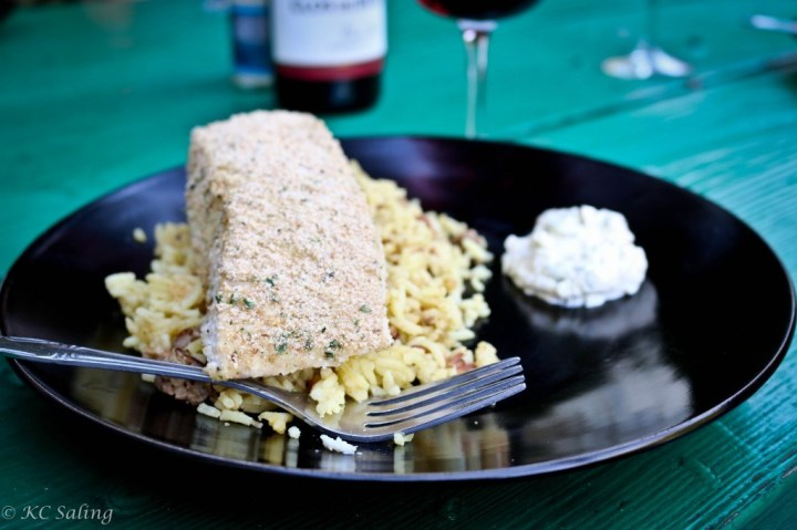 Food Exploring :: Lemon Breaded Halibut Fillets on Orzo